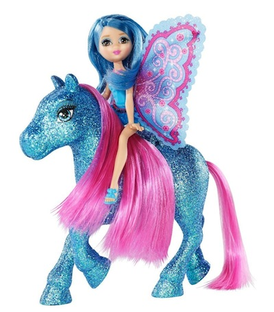 barbie mini fee and pony glitter pink blue t7470