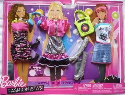 barbie fashionistas v tement 3 tenues loisirs jouet de. Black Bedroom Furniture Sets. Home Design Ideas