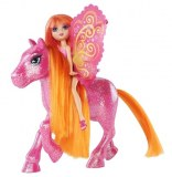 Barbie Mini Fee et son Poney - Pailletée Rose/orange T7472